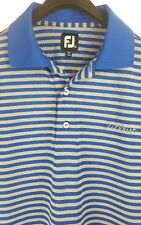 FOOTJOY Titleist Mens Blue Gray Striped S/S Polo Shirt Medium M Tour Issue