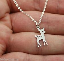 FAWN CHARM NECKLACE - 925 Sterling Silver - Deer Charm Fawn Baby Doe Bambi *NEW*