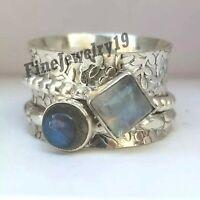 Labradorite Moonstone Ring 925 Sterling Silver Spinner Ring Meditation Ring S53