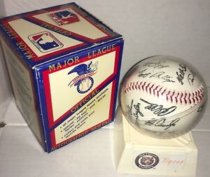 1991 Detroit Tigers Team Stamped Facsimile Signed Autographed Baseball Trammell