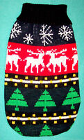 NEW Size Large Reindeer Black Red Turtleneck Dog Sweater Clothes Holiday Pet