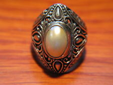 Solid 925 Silver Mabe Pearl Ring