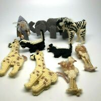Noah's Ark Figures Hand Made Knit With Moveable Legs, Noah Ostrich Skunk Zebra+