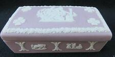 "Vintage Wedgwood Jasperware Lilac / Purple Trinket Jewelry Box w Lid 3 5/8"""