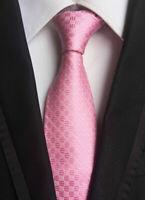 Men's Classic Pink Checks Ties Wedding Jacquard Woven necktie