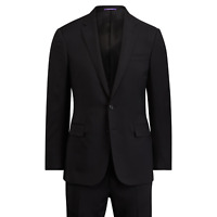 Ralph Lauren Purple Label Anthony 2 Button Handmade Italy Black Wool Suit 40L