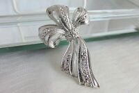 Vintage Faux Marcasite Bow w/ Streamers Pin Silver Plated Signed LR Beautiful