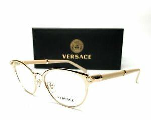 Versace VE 1259 Q 1252 Pale Gold Beige Demo Lens Cat Eye Eyeglasses 52mm New