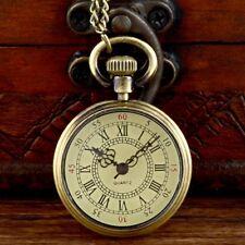 Vintage Bronze Roman Pocket Watch Quartz Open Face Chain Necklace Pendant Retro