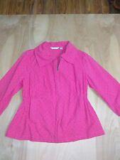 Women's Liz Claiborne Pink Zipped Embroidered Eyelet 3/4 Sleeve Jacket Blazer S
