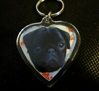 Pug Keyring Black Pugs Key Rings Gift Black Pug Dog Mothers Day Gift Xmas Gift
