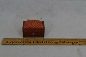 sewing silk pin cushion box small 2.5 x 1.75 wood laquered old red 1900