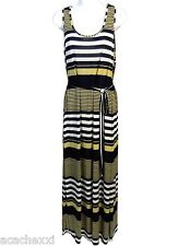 016314bb77 Women s Tahiti Nautical Striped Stretch Sleeveless Maxi Dress Taupe Navy XL