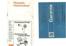 +++ ORIGINAL +++ ROWENTA HAARTROCKNER EK-661 / EK-671 BEDIENUNGSANLEITUNG ++ RAR