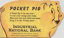 NOS 1950s BANTHRICO BANK Pocket Pig Coin Holdier -  INDUSTRIAL NATIONAL BANK