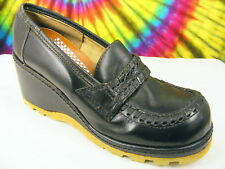 size 7 B vtg 70s black leather wedge loafers shoes NOS