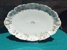 """Haviland Limoges Platter SCHLEIGER 232 Pink & Blue Floral Gold Trim 16"""""""