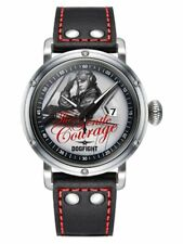 Dogfight Pin-Up Collection GENTLE COURAGE Black Leather Mens Pilot Watch DF0042
