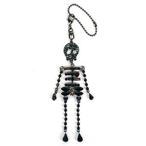 100% Authentic Anteprima Crystal Encrusted Skull Skeleton Keyring Bag Charm