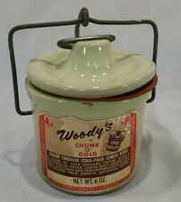 Woodys Chunk O Gold 6 Oz Crock Vtg Green Clamp Lid