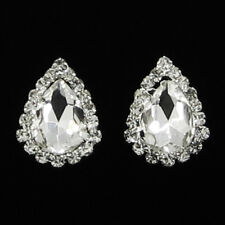 Pierced Sparkly Crystal Tear Drop Diamante Stud Style Earrings for Pierced Ears