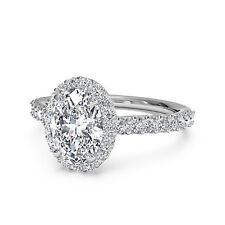 Real 14K White Gold Oval Halo 1.30 Ct Diamond Engagement Rings VVS1/D Size 6,7,8