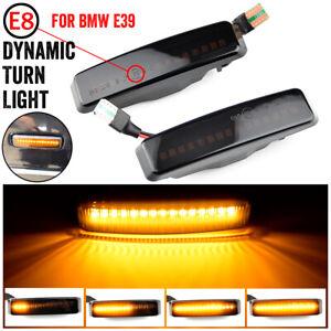 For BMW E39 Smoke Lens Sequential LED Side Marker Lights Turn Signal Lights Lamp