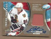 2009-10 UD Fresh Thread hockey card Patrick Kane signed Chicago Blackhawks 25/35