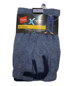 NEW Hanes 2XL Mens X Temp Knit Lounge Sleep Pajama Pants Blue Soft Lightweight