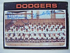 AL DOWNING CLAUDE OSTEEN signed DODGERS 1971 Topps baseball card AUTO Autograph