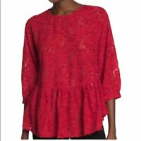 FRNCH Women Red Peplum Top NWT M / L  Tie Back Blouse Texture Shirt Dressy Chic