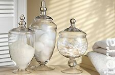 New Terra Collection Clear Mini Glass Apothecary Jars with Lids  (Set of 3)