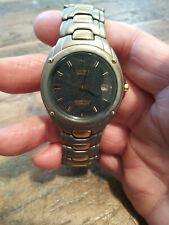 Vintage Citizen Solar Tech A160-H16331 Titanium 100 Meter Men's Two Tone Watch