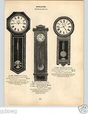 "1896 PAPER AD Seth Thomas Waterbury Regulator Wall Clock 69"" 76"" 82"" 8 Day"