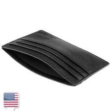 Black Real Leather Credit Card Holder Mini wallet ID Case Slim Wallet Pocket