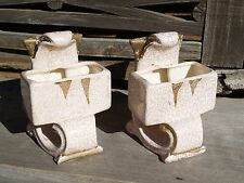 Vintage Bookend Pottery Planters - Crazing/Crackle Finish With Gold Highlights