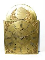 18thC Engraved J. WAKEFIELD AYTON BANKS Brass Long Case Clock Dial & Hands a/f