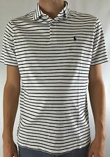 Ralph Lauren Men's Pima Soft Touch Polo Shirt White Navy Blue Stripes Size M