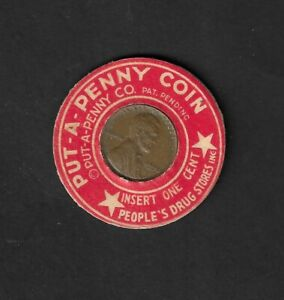 """1950 People's Drug Store """"Put-A-Penny Coin"""" Encased Penny"""