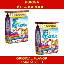Purina Kit and Kaboodle Original Flavor Dry Cat Food Lot of 2 Bags Totals 60 lb