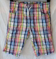 Boys TU Pink Blue White Check Elasticated Waist Board Shorts Age 9 Years