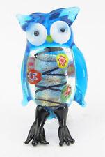 Blue Owl Glass Figurine Miniature,  4.5cm High