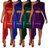 Women Sexy One Shoulder Solid Color Irregular Nightclub Party Bodycon Dress 2pcs