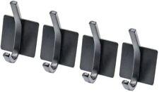 4 Pack Self Adhesive Hooks 3M Adhesive Wall Hanger Waterproof Heavy Duty, Black