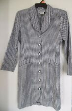 La Belle Sz 7  Dress Houndstooth Button Front Structured BlackWhite 50's Curved