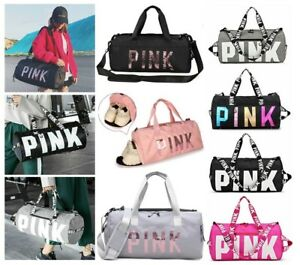 New Canvas Duffle Bag Sequins PINK Travel Yoga Holiday Gym Top Women Gift UK