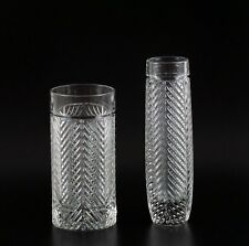 Ralph Lauren Classic Herringbone Crystal Bud Vase Highball Glass Lot Art Deco