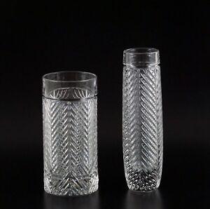 Ralph Lauren Classic Herringbone Crystal Bud Vase Highball Glass Lot Art Deco