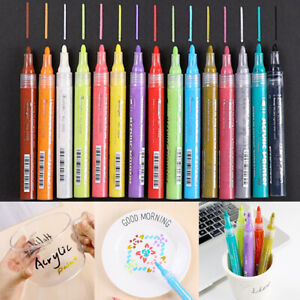 24 Pack Acrylic Paint Pens Sets Marker Pen Mug Design Ceramic Glass Metal Wood