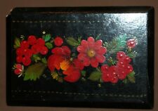 ANTIQUE HAND PAINTED FLORAL WOOD BOX